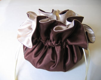 Jewelry Bag Jewelry Pouch Jewelry Tote Chocolate Brown and Ivory