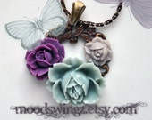 Flower wreath necklace in antique brass, amathyst purple, seafoam green and greige roses, beautiful links in antique brass chain