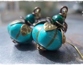 Pumpkin earrings Organic dangle drop earrings magnesite turquoise and chrysocolla on bronze brass berry fruit melon rustic persimmon howlite