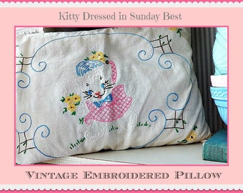 Vintage Embroidered Pillow - Kitten with Flowers Wearing Her Sunday Best -- All Original
