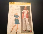 Vintage New in Package Simplicity #6102 Pattern for Misses Size 16 Short Dress or Top and Pants