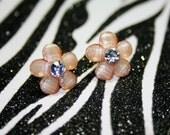 Beige Daisy Earrings, Light Brown Flower Studs, Floral Rhinestone Earrings