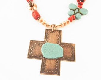 Etched Copper Cross Turquoise Coral Fiesta Necklace CLEARANCE