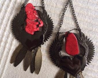 FLYING HEART wings red navaro stone black metal chains fly away sky earrings dangle skies heavenly heaven angel fantasy
