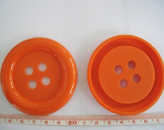 6 pcs of Extra Large Four Hole Dark Orange Button - 64mm or 2.5 inches