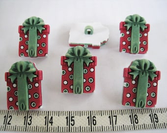 9pcs of  Polka Dot  Present Button Gift Box Shank Button Matte