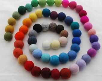 100% Wool Felt Balls - 2.5cm - 60 Count - Assorted Colors