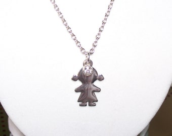 Little Girl Birthstone Necklace for Mom or Grandmother for April