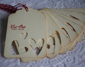 Handmade Cut Out for Love Gift Tags - Valentine's Day or Wedding Favor - Set of 8