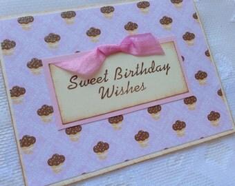 Sweet Birthday Wishes Handmade Greeting Card - Cupcakes