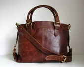 Large Leather Purse in Vintage Brown