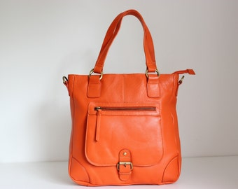 Orange Leather Handbag/ Leather Tote/ Orange Leather Tote/ Leather Purse Leather Handbag