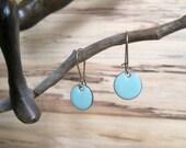Robins Egg Blue Dangle Earrings, Bright Blue Earrings, Drop Earrings, Copper Enamel Jewelry, Nickel Free Kidney Earwires, Handmade Earrings