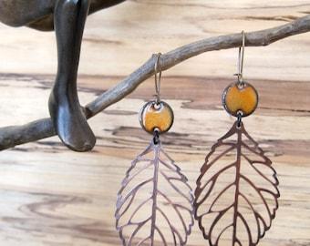 Orange Drop Earrings, Copper Leaf Dangle Earrings, Enamel Earrings, Mikado Orange Chandelier Earrings Nickel free kidney ear wires