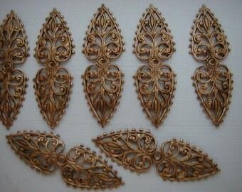 6 Slightly Dap or Flat Foldover Leaf Antiqued Brass Filigrees Cbin