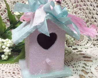 Glitter Christmas Bird House, Christmas Ornament, Pink Christmas, Glittered Christmas Ornament, Christmas Decor,