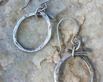 Sterling Silver Earrings - Hammered Hoop Earrings - Small Round Hoop Earrings - Western Cowgirl Jewelry - Organic Earrings