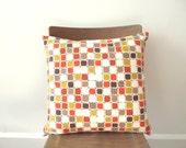 SALE !  Pillow Cover - Vintage Fabric - Retro Modern - Dorm Decor - Orange - Mustard Gold - Chocolate Brown - Cushion Cover