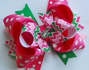NEW glam over-the-top loopy layered shocking PINK and GREEN chevrons and dots hair bow clip