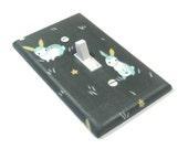 Gray Rabbit Light Switch Cover Woodland Nursery Decor Bunny Switchplate Switch Plate