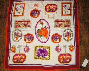 Vintage Scarf, Napoli Made in Italy Silk 34 inch, Original tag, Floral bright design of flowers in frames with tassels, Bonus brooch
