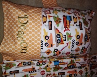 Nap Mat Cover with Attached Pillow Case - Dig It- Monogrammed Free