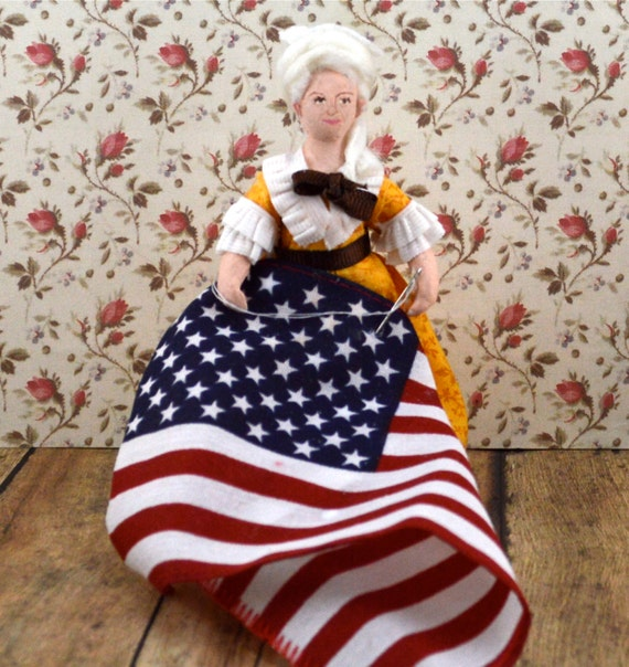 Betsy Ross Doll Miniature Historical Colonial Art Character