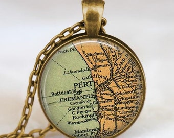 Perth Australia map  necklace,  Perth map pendant ,  Perth Australia glass dome pendant,map jewelry