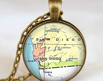 San Diego map necklace,san diego california pendant, san diego map jewelry gift for men women with gift bag