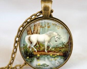 Unicorn  fairyland necklace , White Unicorn pendant , Unicorn jewelry ,  fantasy necklace, whimsical jewelry, handmade unique gift idea