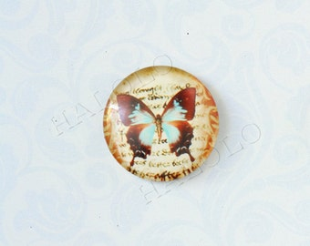 4pcs handmade butterfly round clear glass dome cabochons 25mm (250077)
