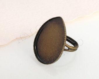 5pcs antique bronze water drop teardrop ring base setting 25x18mm (BN399)