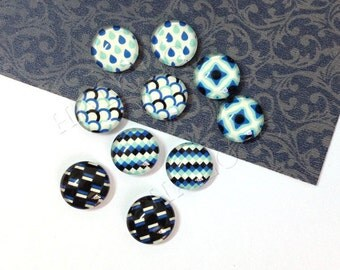 10pcs handmade assorted blue color geometric round clear glass dome cabochons 12mm (12-0322)