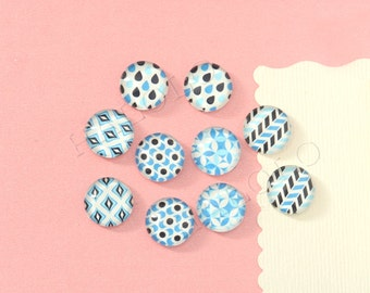 10pcs handmade assorted geometric blue round clear glass dome cabochons 12mm (12-91232)