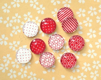 10pcs handmade assorted geometric red and white round glass dome cabochons / Wooden earring stud 12mm  (12-1089)