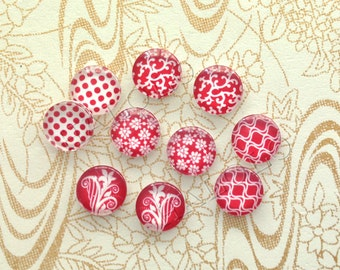 10pcs handmade assorted geometric red and white round glass dome cabochons 12mm (12-1007)