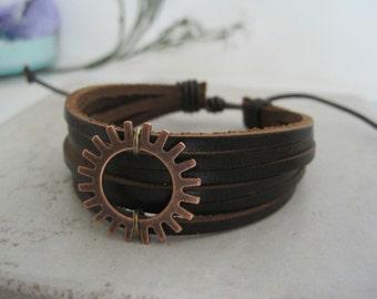 Copper Sunburst Leather Wrap Bracelet Cuff