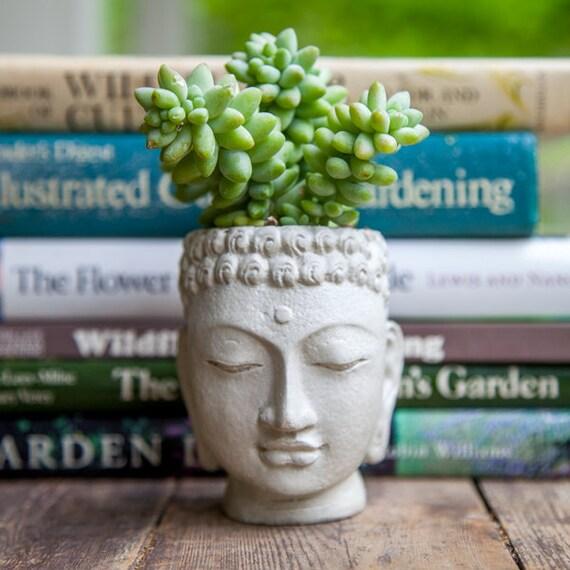 Buddha Head Planter Small Cement Pot Buddha Head Planter