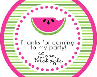 Hot Pink Watermelon Summer Party round sticker label for birthday party, baby shower, PERSONALIZED