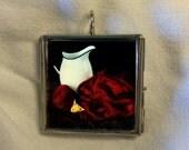 Glass Pane Necklace Fine Art Photography, Metallic Photo Paper Knitting Project Knitter Gift Idea, by artist J. L. Fleckenstein