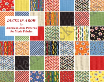 DUCKS in a ROW - Moda Fabric Charm Pack - Five Inch Quilt Squares Quilting Material Blocks