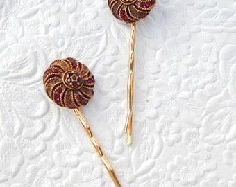 2 sparkling rhinestone gold/red bobby-pins, hair accessory, womens accessory, fashion accessory, floral hairpin