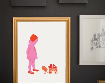 Children's Wall Art, Little girl and birdie, Nursery Wall Decor, Silhouette Art by Vana Chupp