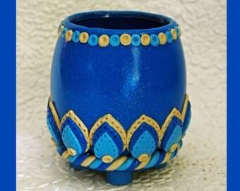 Blue Teardrop Candle Holder