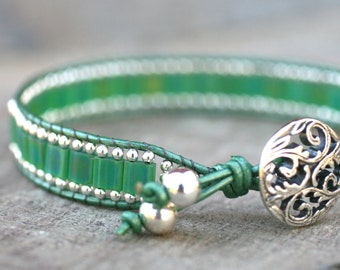 Sale Green Square Tila and Sterling Silver Beaded Single Leather Wrap Bracelet Handmade, Summer Jewelry