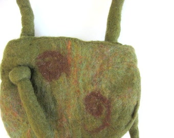 Hand Felted Petite Purse - Olive Green With Brown Swirls - Spring Trends