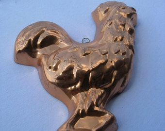 Vintage Copper Jello Mold - Rooster Shape