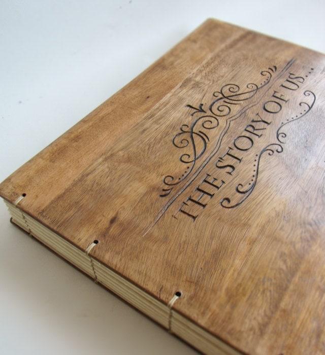 Personalized wedding album reclaimed wood photoalbum hand