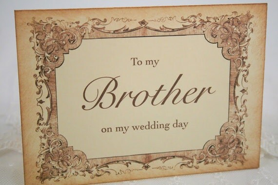 To My Brother on my Wedding Day Card Card - For Men