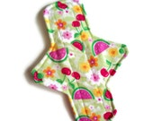 1 Regular cloth menstrual pad 9 1/2 inches long with PUL - Watermelon and Cherries